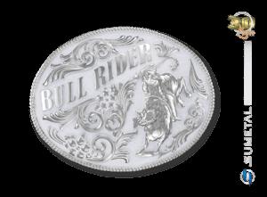 9186FJ NI Branco - Fivela Country Touro Bull Rider