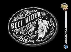 9186FJ NI Preto - Fivela Country Touro Bull Rider