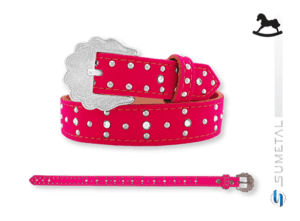 CT0069 - Cinto Country Veludo Pink Infantil