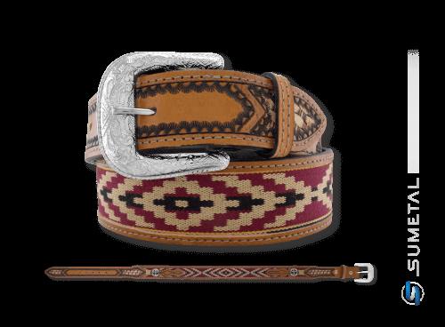 CT0144 - Cinto Country Indígena com Margarida de Cruz