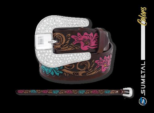 CT0149 - Cinto Country Floral com Manta de Strass