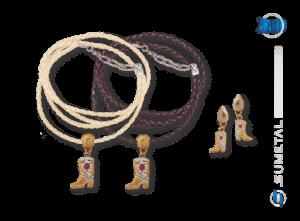 KIT0034 - Conjunto Country Colar e Brinco Bota