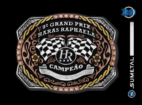 9816FJ - Fivela Personalizada Country Grand Prix Haras Raphaela