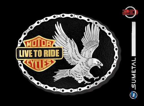 9531FJ - Fivela Personalizada Moto Clube Live To Ride
