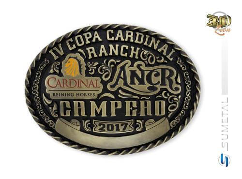 9860FJ IV -  Fivela Personalizada Country Copa Cardinal Ranch