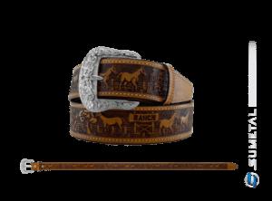 CT0160 - Cinto Country Fazenda Ranch Caramelo Destacado