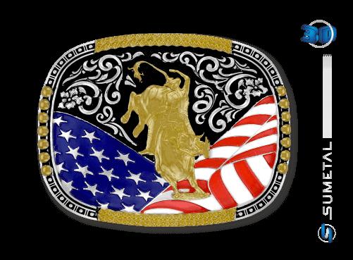 10572FJ PD - Fivela Country Touro Bandeira