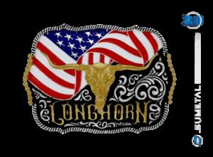 10573FJ PD - Fivela Country Longhorn Bandeira