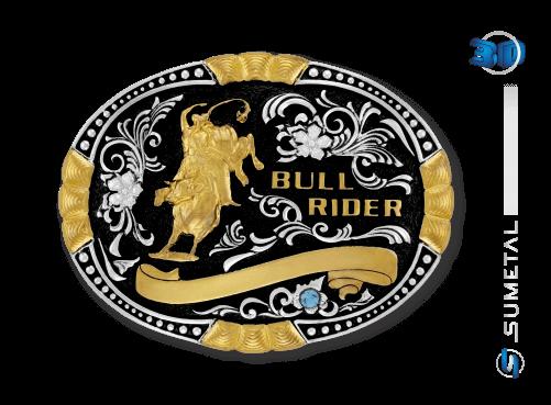 9924FJ PD - Fivela Country Touro Bull Rider