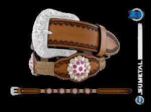 CT0166 – Cinto Country Flor Pink c/ Fivela Comum
