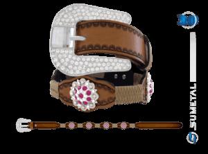 CT0166 – Cinto Country Flor Pink c/ Fivela de Strass