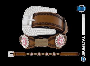 CT0166 – Cinto Country Flor Rose c/ Fivela de Strass