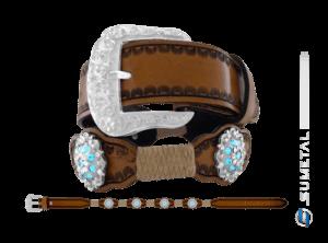 CT0166 – Cinto Country Flor Azul Aquamarine c/ Fivela Comum