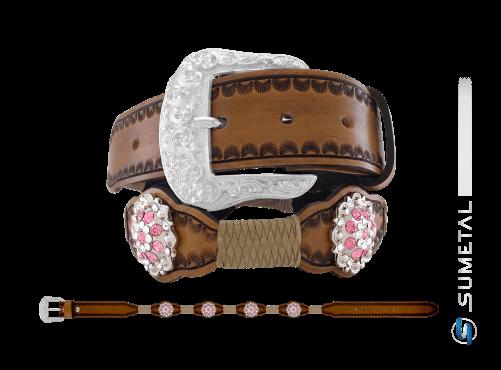 CT0166 – Cinto Country Flor Rose c/ Fivela Comum