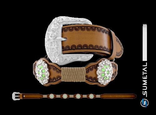 CT0166 – Cinto Country Flor Verde c/ Fivela Comum