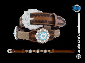 CT0167 - Cinto Country Flor Azul Aquamarine Infantil