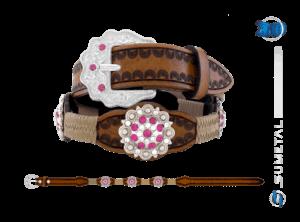 CT0167 - Cinto Country Flor Pink Infantil