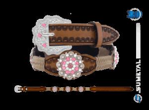 CT0167 - Cinto Country Flor Rose Infantil