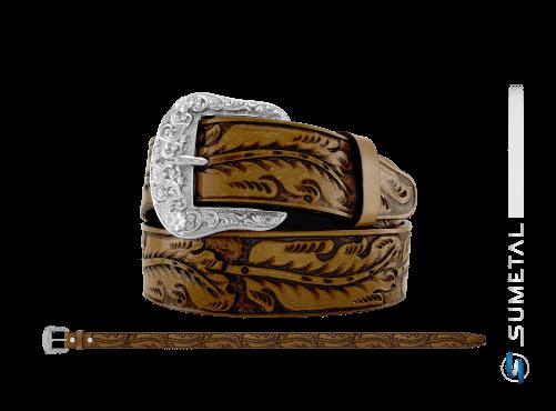CT0179 - Cinto Country Folhagem Caramelo Escurecido