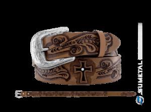 CT0183 - Cinto Country Ramagens e Cruz com Aplique Caramelo Escurecido