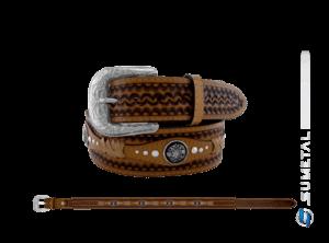 CT0189 - Cinto Country Aplique Trança c/ Margarida e Cravo Caramelo Destacado