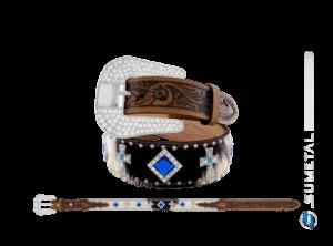CT0190 - Cinto Country Pelo/Chaton azul e Margarida Cruz Caramelo Destacado