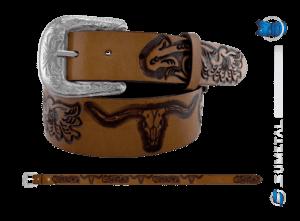 CT0186 - Cinto Country Floral Longhorn sem costura Caramelo Destacado