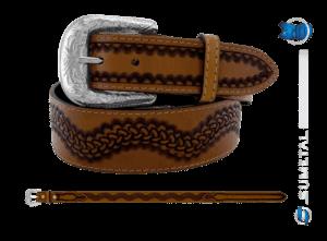 CT0187 - Cinto Country Onda com costura Caramelo Destacado