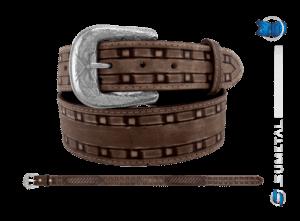 CT0188 - Cinto Country Rústico com costura Marrom