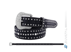 CT0068 - Cinto Country C/Strass e Cravos Preto