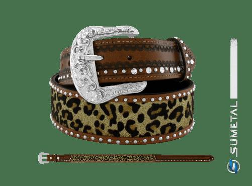 CT0195 - Cinto Country Glitter Onça c/Strass e Cravo c/Fivela Comum