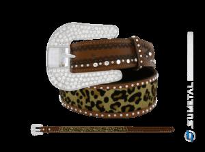 CT0195 - Cinto Country Glitter Onça c/Strass e Cravo c/Fivela Strass