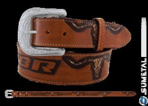 CT0198 - Cinto Country PBR Longhorn Caramelo Destacado