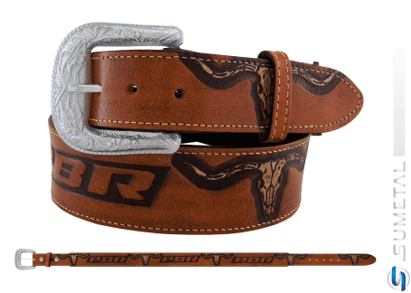 CT0198 - Cinto Country PBR Longhorn Caramelo Destacado
