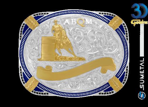 12072F PD Borda Azul - Fivela Country ABQM Tambor Masculino