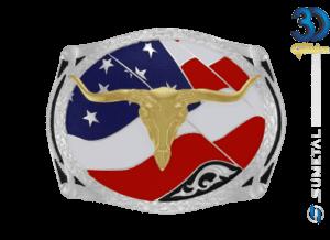 12142FJ PD - Fivela Country Longhorn