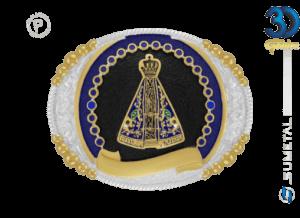 12143F PD Azul - Fivela Country Nossa Senhora Infantil