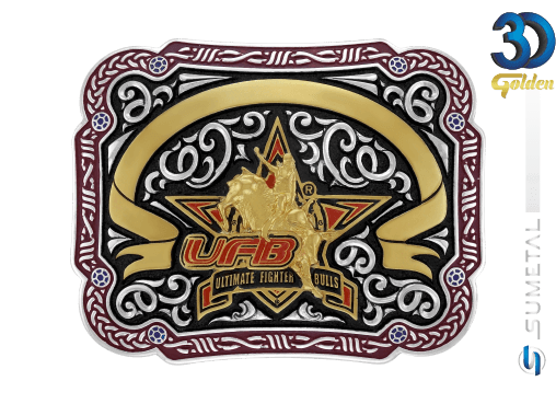 12194FJ PD Borda Vermelha - Fivela Country UFB Ultimate Fighter Bulls