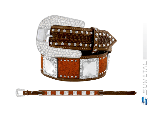 CT0194 - Cinto Country Glitter Goiaba com Chaton e Cravo Fivela Comum