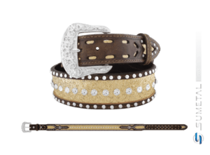 CT0199 - Cinto Country Glitter Dourado C/Strass e Cravo Fivela Comum