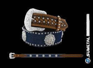 CT0200 - Cinto Country Glitter Azul C/Cravo e Margarida Flor Boreal Fivela Comum