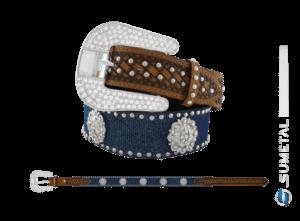 CT0200 - Cinto Country Glitter Azul C/Cravo e Margarida Flor Boreal Fivela Strass
