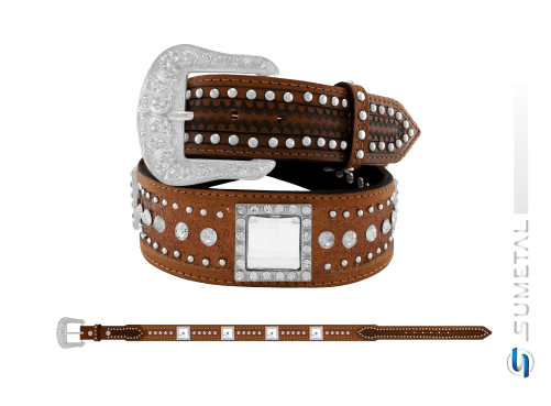 CT0202 - Cinto Country Glitter Cobre C/Strass, Cravo e Chaton Fivela Comum
