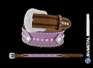 CT0204 - Cinto Country Glitter Lilás C/Cravo, Strass e Chaton Fivela Comum