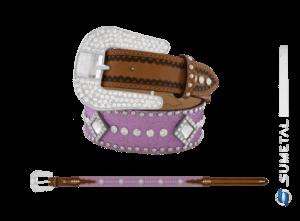 CT0204 - Cinto Country Glitter Lilás C/Cravo, Strass e Chaton Fivela Strass