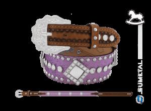 CT0205 - Cinto Country Glitter Lilás C/Cravo, Strass e Chaton Infantil