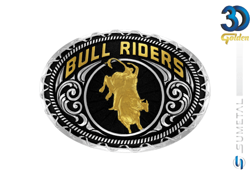 12285FJ PD - Fivela Country Touro Bull Riders