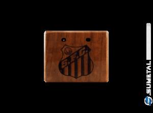 KIT0054 NI - Kit Churrasco com Garfo Tridente e Madeira Personalizada com Logo do Santos