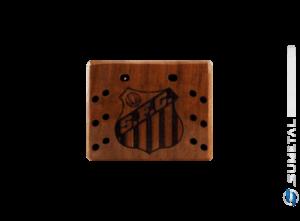 KIT0055 NI - Kit Churrasco com Garfo Tridente + 6 Garfos Petisco e Madeira Personalizada com Logo do Santos
