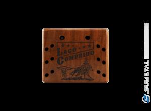 KIT0079 NI – Kit Churrasco com Garfo Tridente + 6 Garfos Petisco e Madeira Personalizada com Logo Laço Comprido